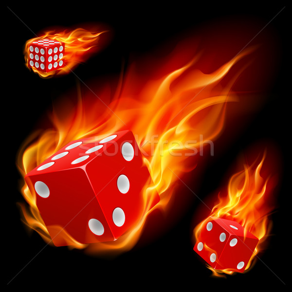 Dice in fire Stock photo © dvarg