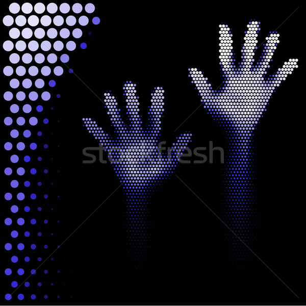 Halftone hands silhouette Stock photo © dvarg
