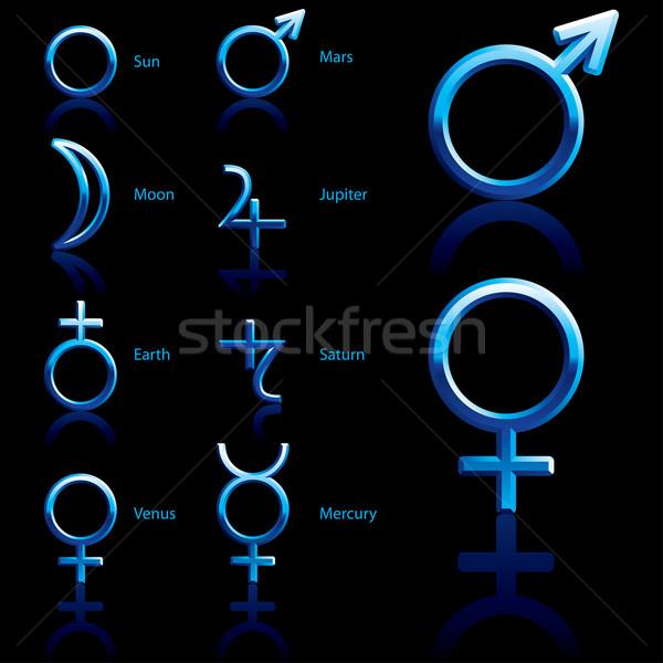 Foto d'archivio: Simbolo · pianeta · zodiaco · astrologia · simboli · pianeti