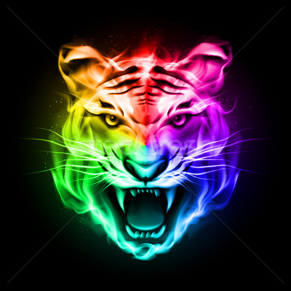 Stock photo: Head of tiger in colorful fire.