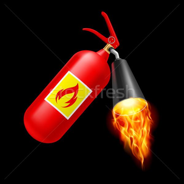 Yangın söndürücü kırmızı yangın siyah güvenlik Metal Stok fotoğraf © dvarg