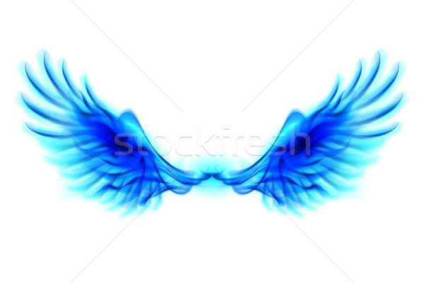 Stockfoto: Blauw · brand · vleugels · illustratie · witte · ontwerp