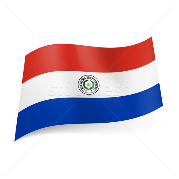 Banderą Paragwaj czerwony biały niebieski poziomy Zdjęcia stock © dvarg