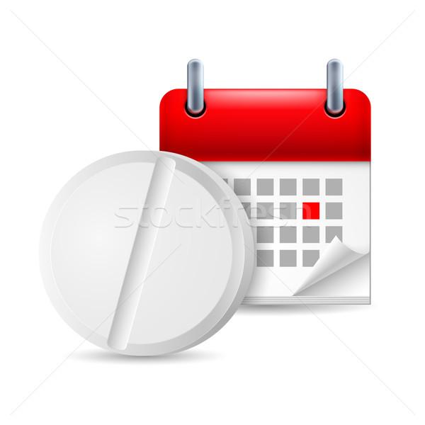 таблетки календаря икона медицина помочь аптека Сток-фото © dvarg