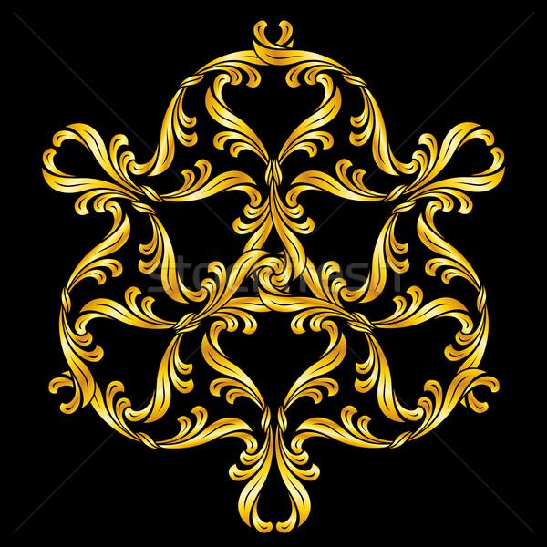 Kwiatowy wzór złoty czarny Zdjęcia stock © dvarg