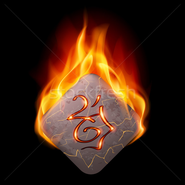 Burning rune stone Stock photo © dvarg