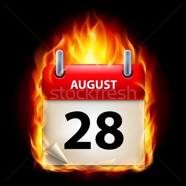 égő naptár augusztus ikon fekete papír Stock fotó © dvarg