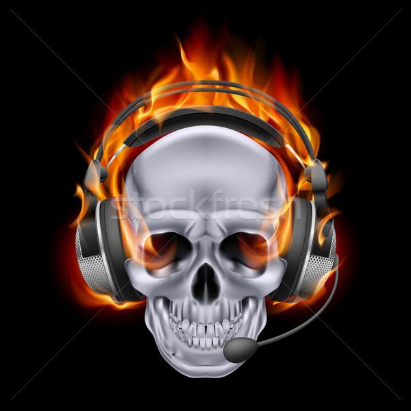 炎のような 頭蓋骨 ヘッドホン 実例 クロム 黒 ストックフォト © dvarg