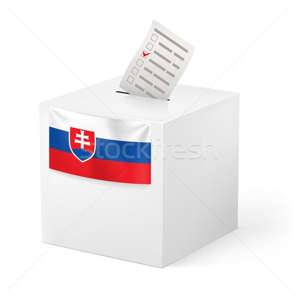 Stock photo: Ballot box with voting paper. Slovakia