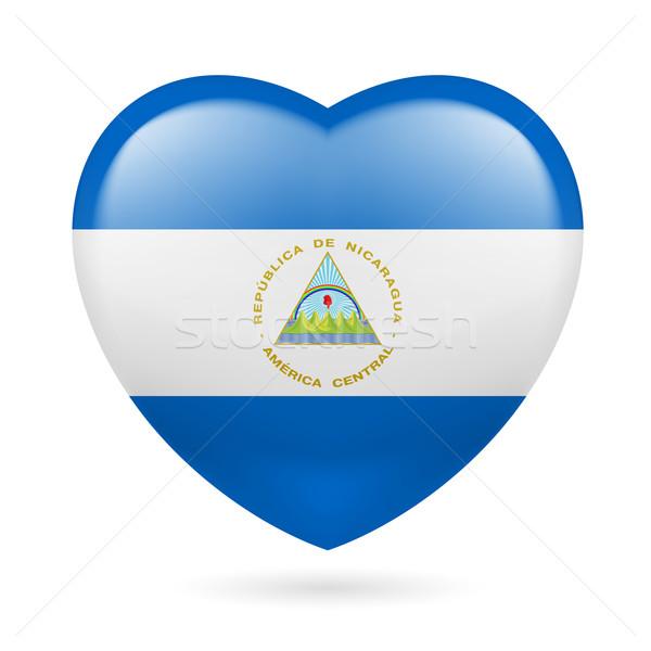 Coração ícone Nicarágua bandeira cores amor Foto stock © dvarg