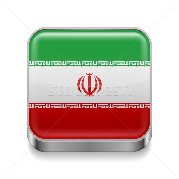 Fém ikon Irán tér iráni zászló Stock fotó © dvarg