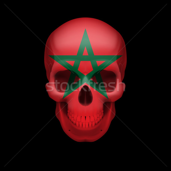 Moroccan flag skull Stock photo © dvarg