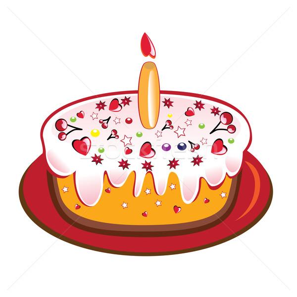 White Birthday Cake Candles Cm