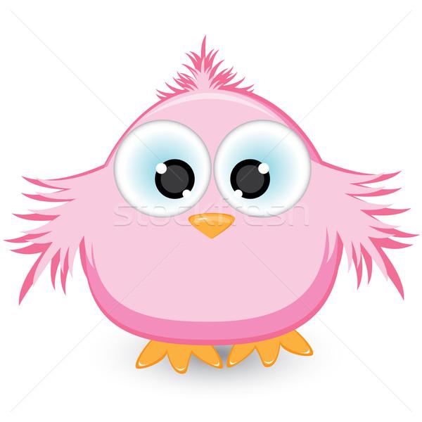 Cartoon розовый воробей иллюстрация белый искусства Сток-фото © dvarg