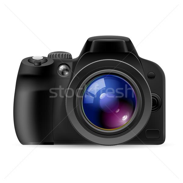 Realistico fotocamera digitale illustrazione bianco blu rosso Foto d'archivio © dvarg