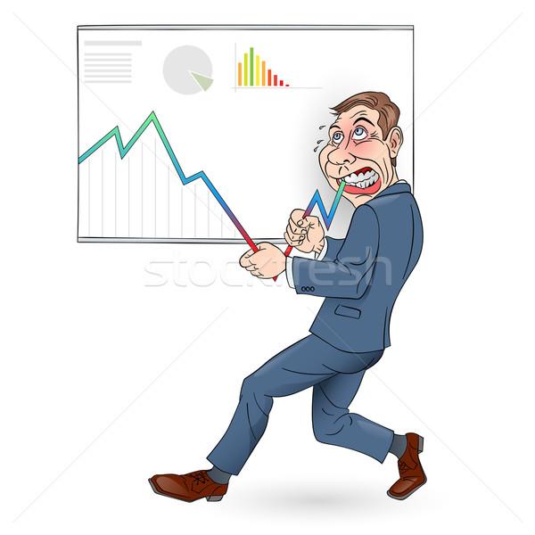 üzletember illusztráció toló grafikon felfelé szín Stock fotó © dvarg