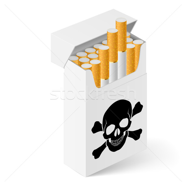 Blanche Pack cigarettes noir crâne illustration Photo stock © dvarg
