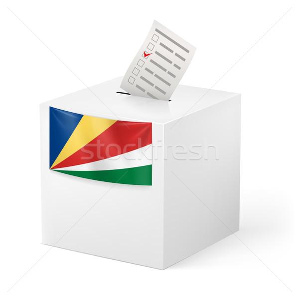 Szavazócédula doboz szavazás papír Seychelle-szigetek választás Stock fotó © dvarg