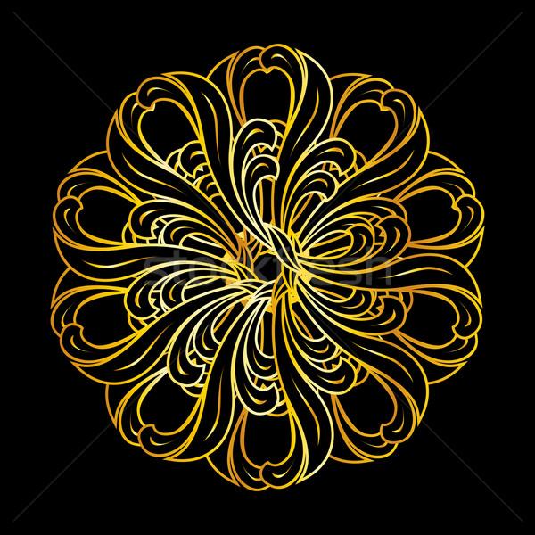 Zdjęcia stock: Złoty · kwiatowy · wzór · stylu · złota · kolory