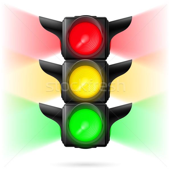 Trafik ışıkları gerçekçi tüm üç renkler örnek Stok fotoğraf © dvarg