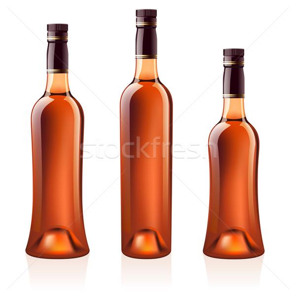 Bouteilles cognac brandy réaliste vecteur isolé Photo stock © dvarg