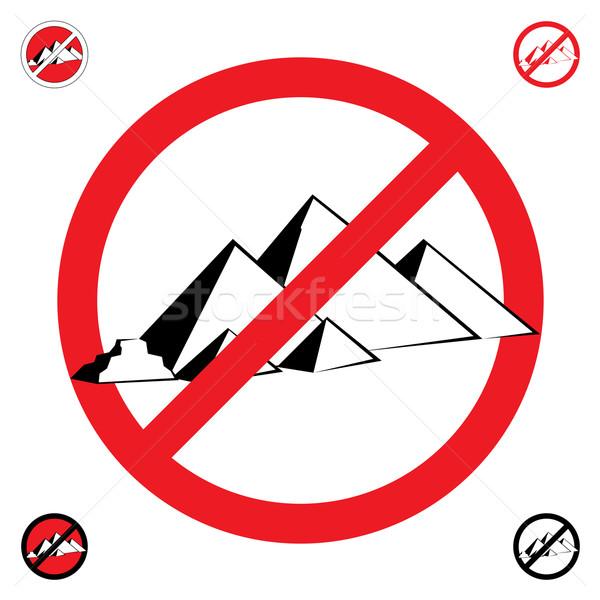 Piramidy symbol stop biały budowy projektu Zdjęcia stock © dvarg