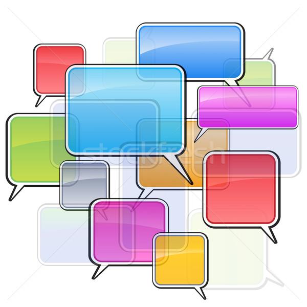 Színes ikonok sms illusztráció fehér számítógép Stock fotó © dvarg