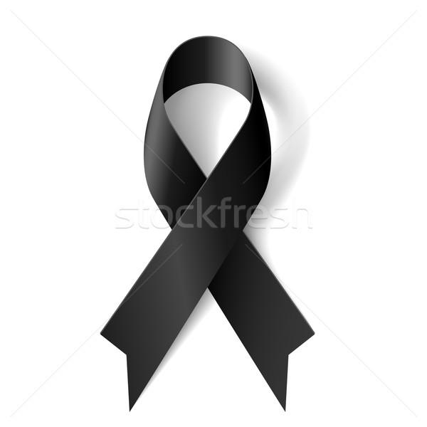 Zwarte lint bewustzijn witte rouw textuur Stockfoto © dvarg
