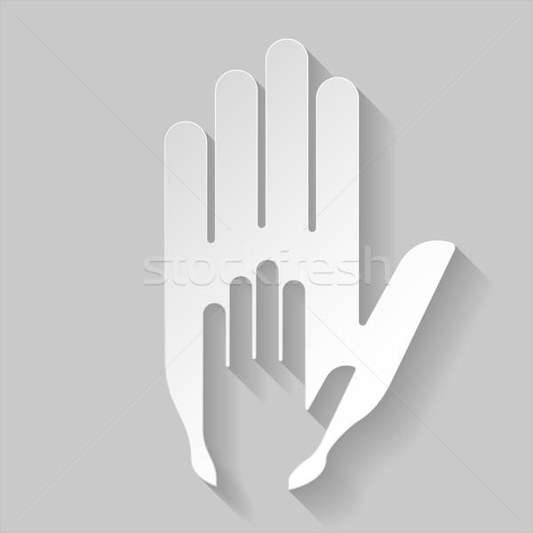 Papier helpende hand hand afbeelding stijl helpen Stockfoto © dvarg