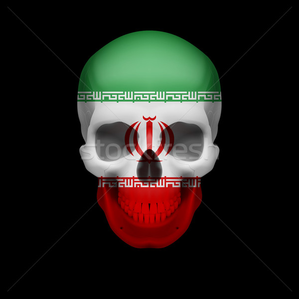 Iranian flag skull Stock photo © dvarg