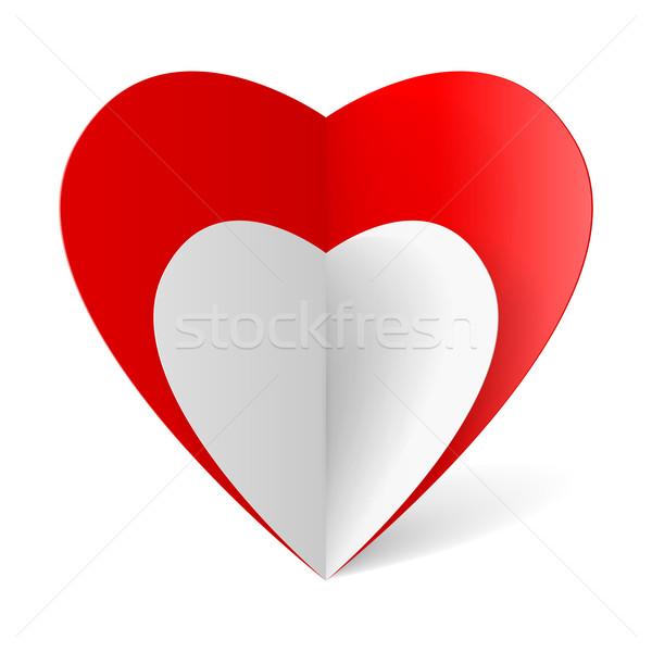 Romantik origami kırmızı beyaz katlanmış kâğıt Stok fotoğraf © dvarg