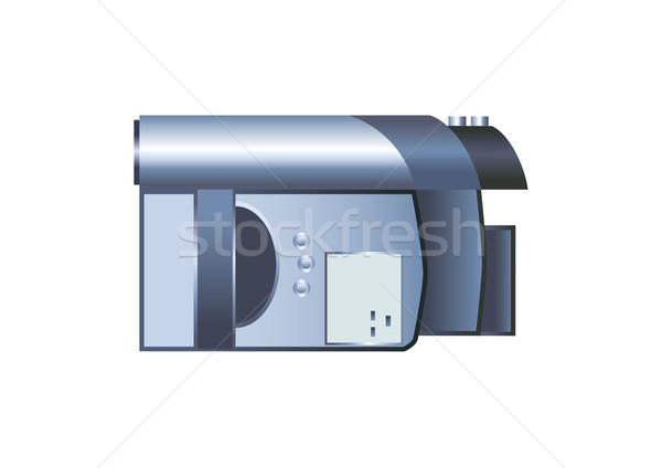 Stock fotó: Digitális · videókamera · fehér · technológia · háttér · lemez