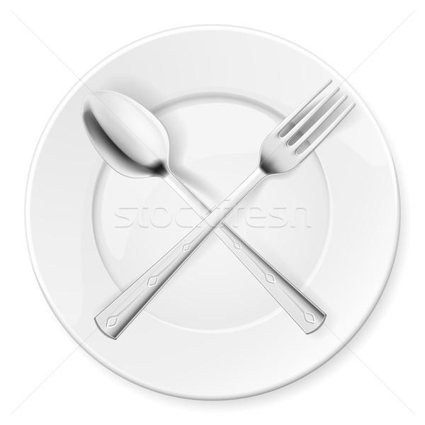 ложку вилка пластина изолированный белый фон Сток-фото © dvarg