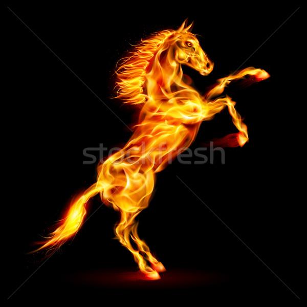 Foto stock: Fuego · caballo · hasta · ilustración · negro · diseno