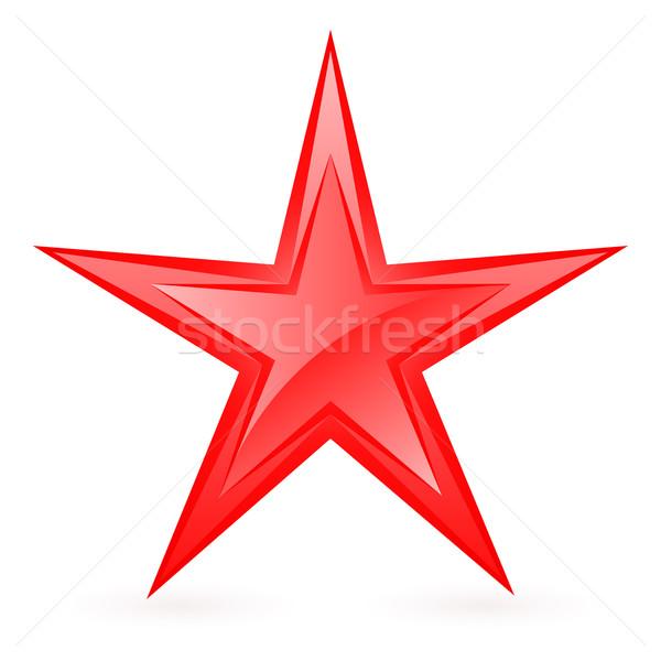 Piros csillag fényes illusztráció fehér felirat Stock fotó © dvarg