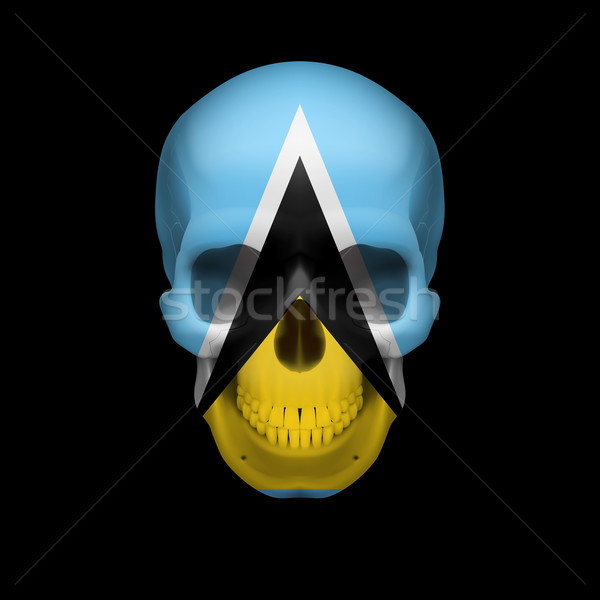 Saint Lucian flag skull Stock photo © dvarg
