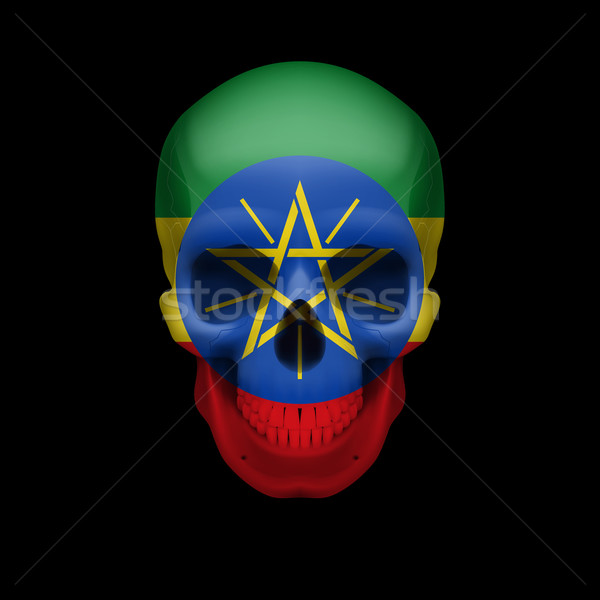 Ethiopian flag skull Stock photo © dvarg