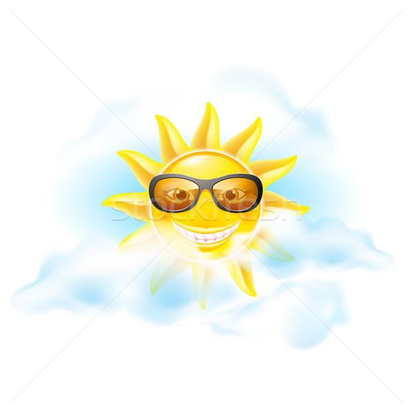 Karikatür güneş ayarlamak üç görmek diğer Stok fotoğraf © dvarg