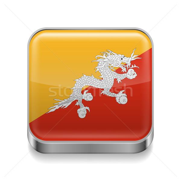 Metal ícone Butão praça bandeira cores Foto stock © dvarg