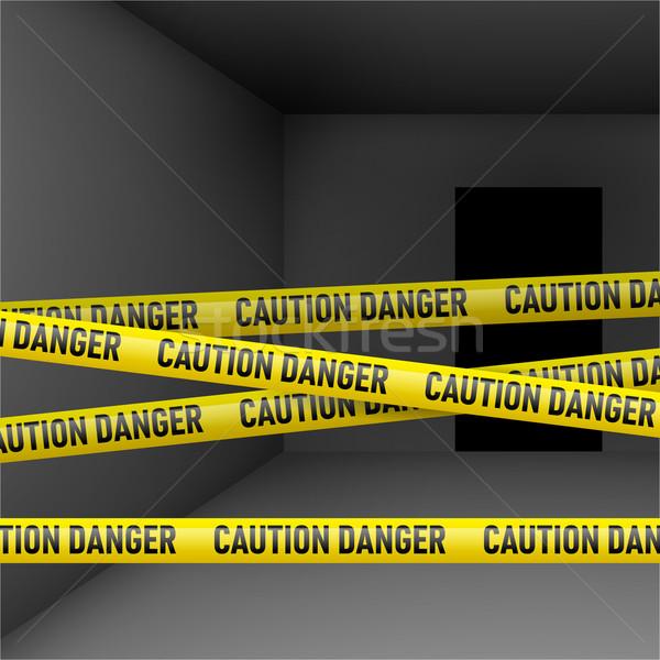 Dark room with danger tape Stock photo © dvarg