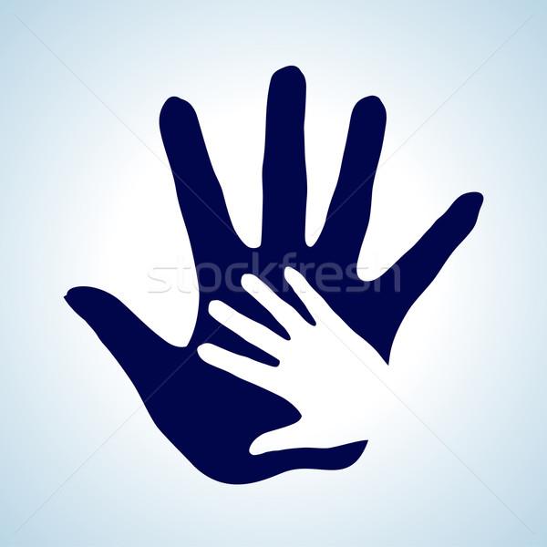 El helping el örnek beyaz mavi yardım Stok fotoğraf © dvarg