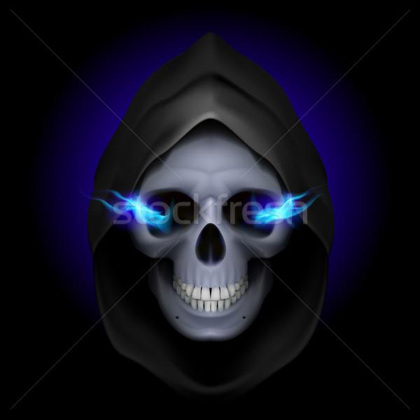 Mort image crâne noir bleu feu Photo stock © dvarg