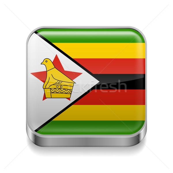 металл икона Зимбабве квадратный флаг цветами Сток-фото © dvarg