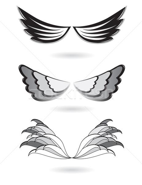 Szett angyalszárnyak illusztráció fehér terv keret Stock fotó © dvarg