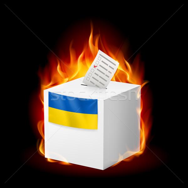 Fiery ballot box of Ukraine. Revolution sign Stock photo © dvarg