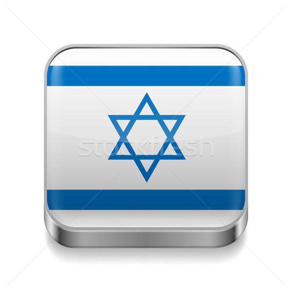 Metal ícone Israel praça israelense bandeira Foto stock © dvarg