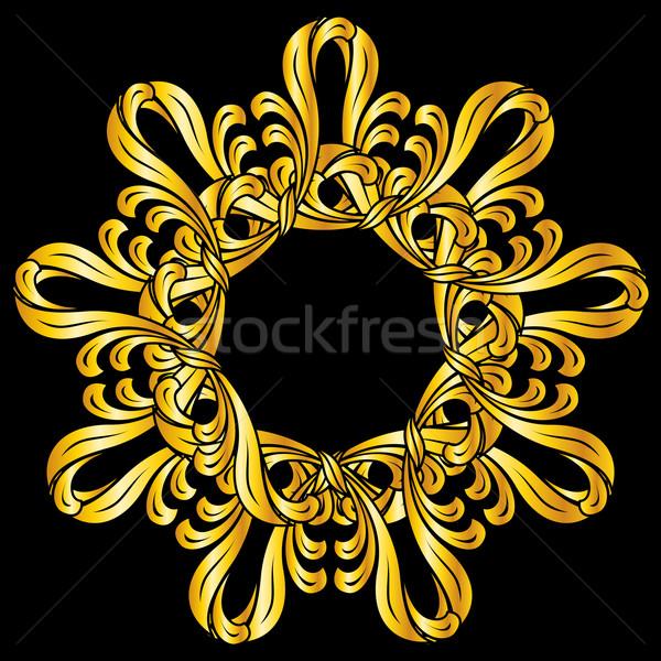 Kwiatowy wzór złota streszczenie czarny Zdjęcia stock © dvarg