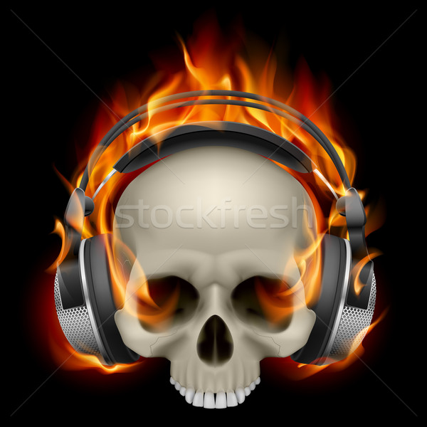 燃えるような 頭蓋骨 着用 ヘッドホン 黒 手紙 ストックフォト © dvarg