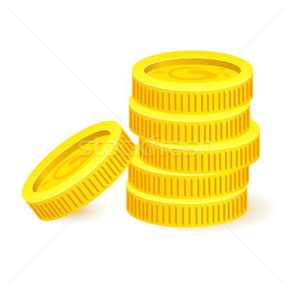 Gouden munten illustratie witte ontwerp teken groep Stockfoto © dvarg