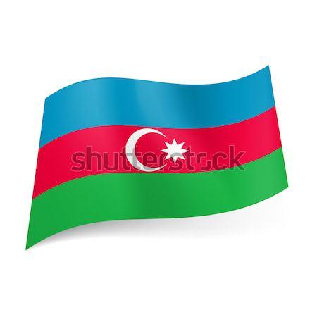 Bandera Azerbaiyán azul rojo verde horizontal Foto stock © dvarg